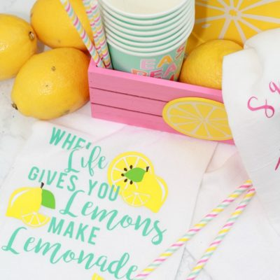 Lemonade Tea Towels with Cricut Iron On