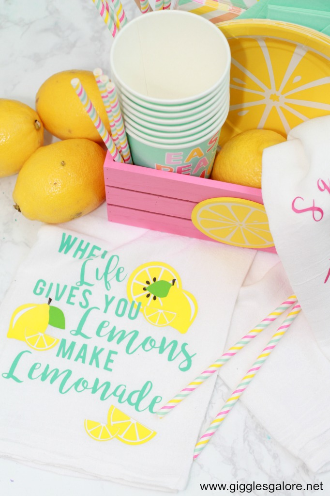 Lemonade tea towel with cricut iron on