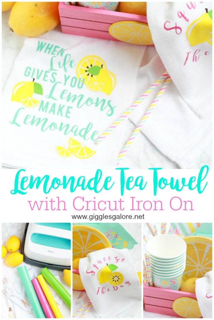 Lemonade tea towel with cricut iron on giggles galore