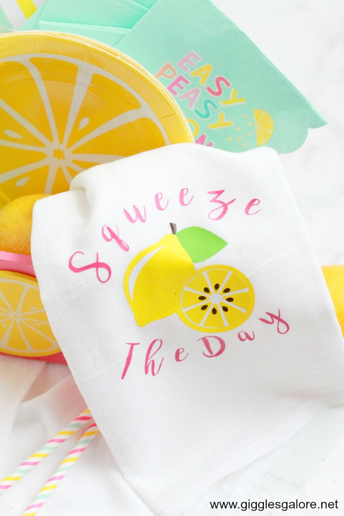 Squeeze the day lemonade tea towels