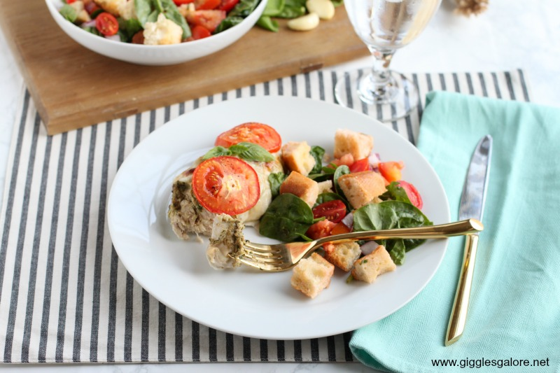 Baked artichoke pesto chicken dinner