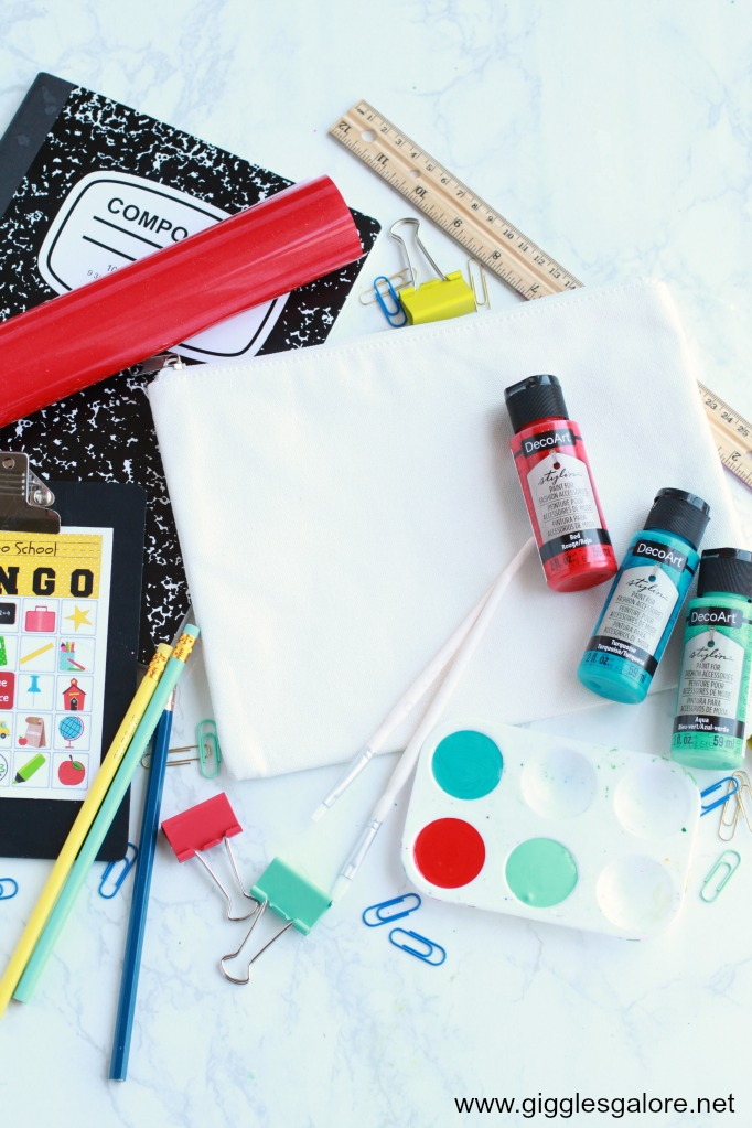 DIY Painted Notebook Paper Pencil Pouch Supplies