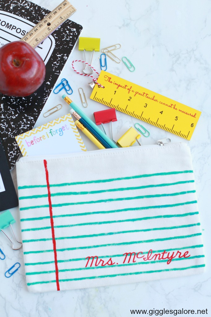Personalized DIY Painted Notebook Paper Pencil Pouch