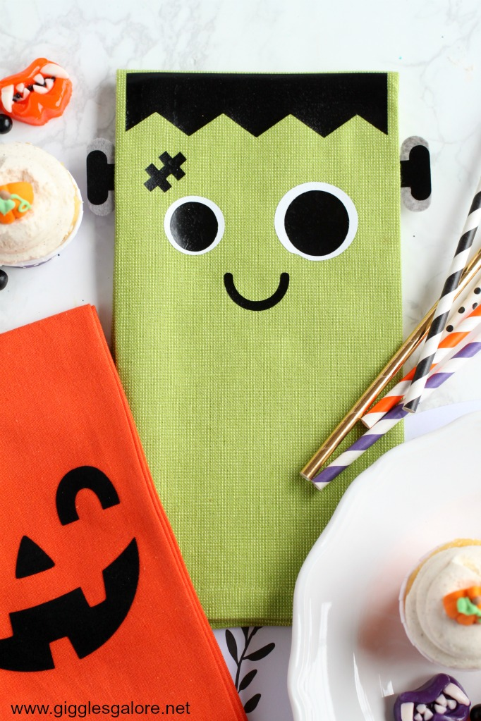 Frankenstein Halloween Napkin with Cricut EasyPress 2