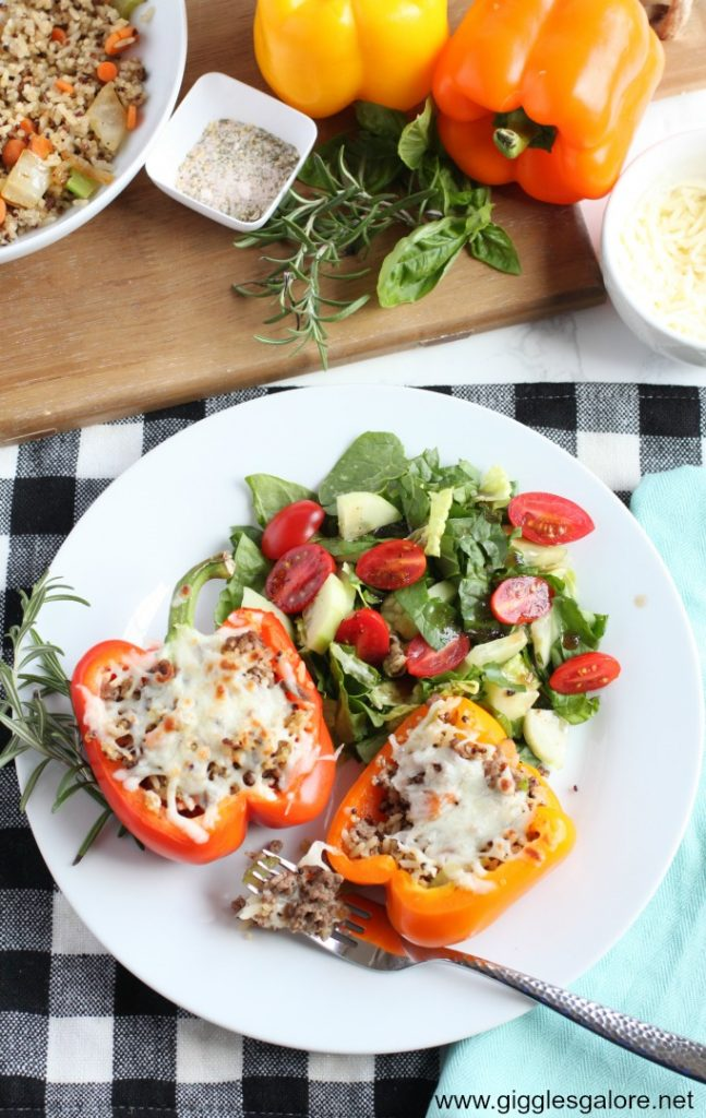 Stress-Free Back to School Meal Italian Stuffed Peppers with Quinoa