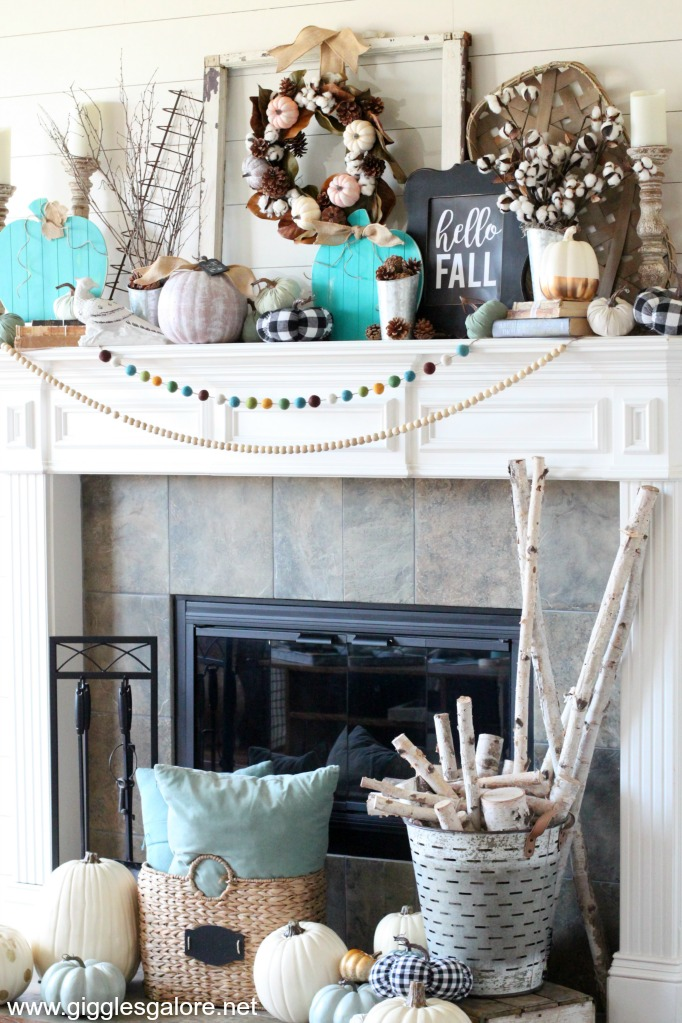 Modern farmhouse fall mantel decor