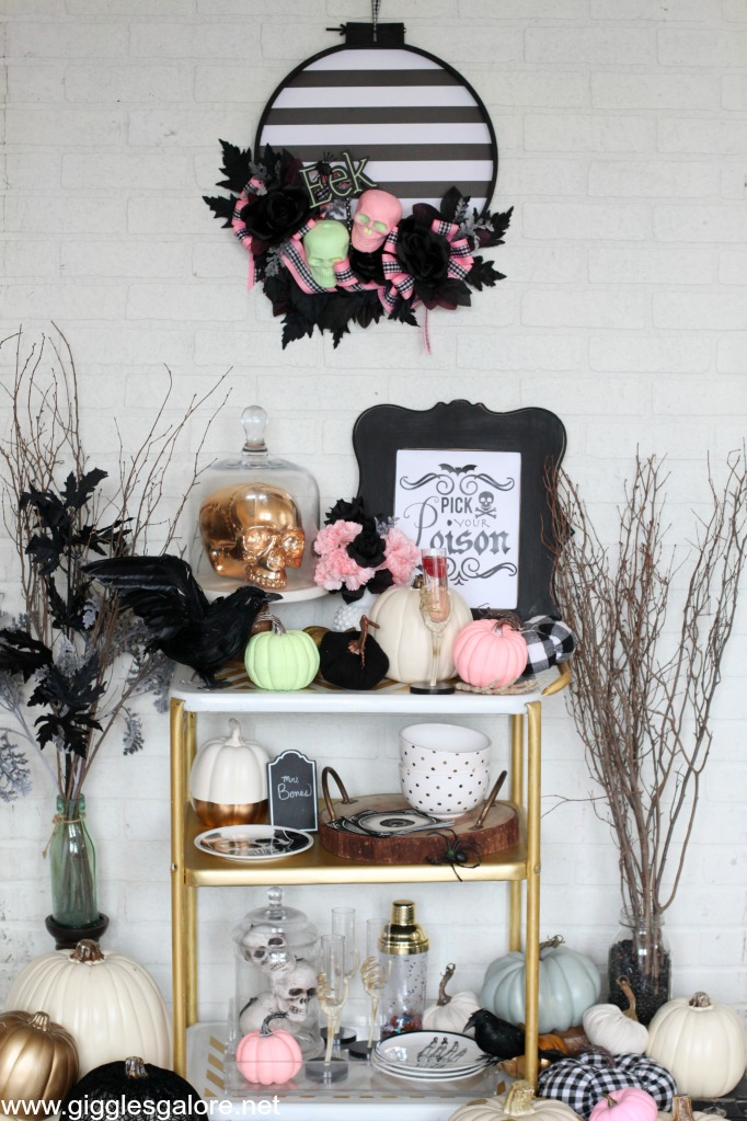 Pink-O-Ween Halloween Bar Cart
