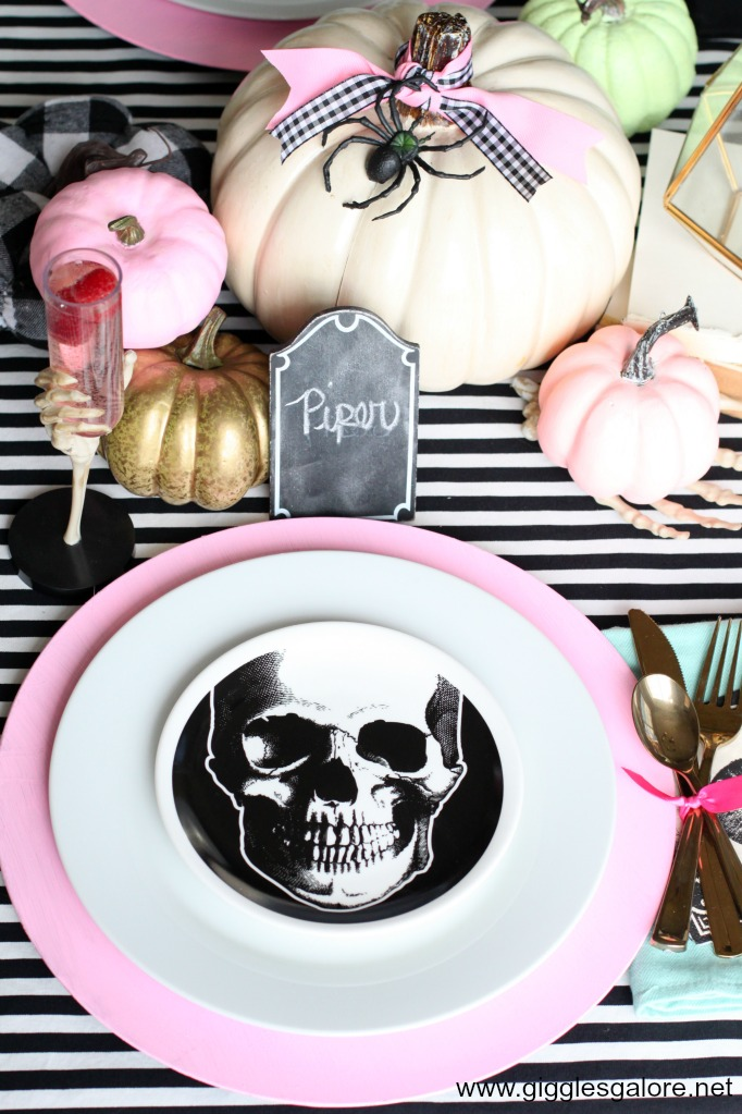 Pastel halloween skeleton place setting