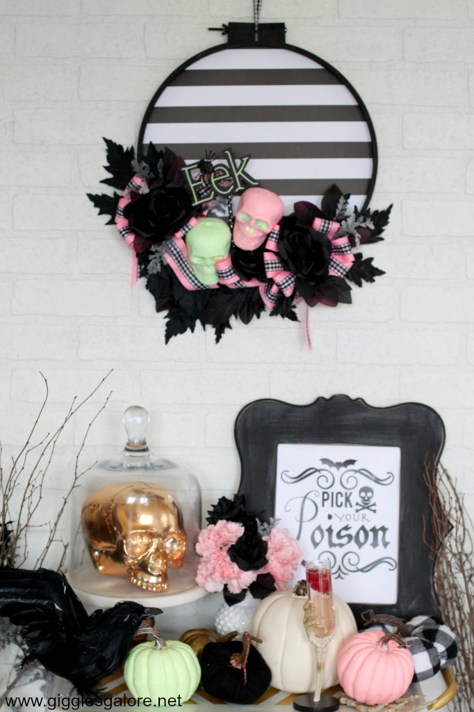 Pastel halloween skeleton wreath 1