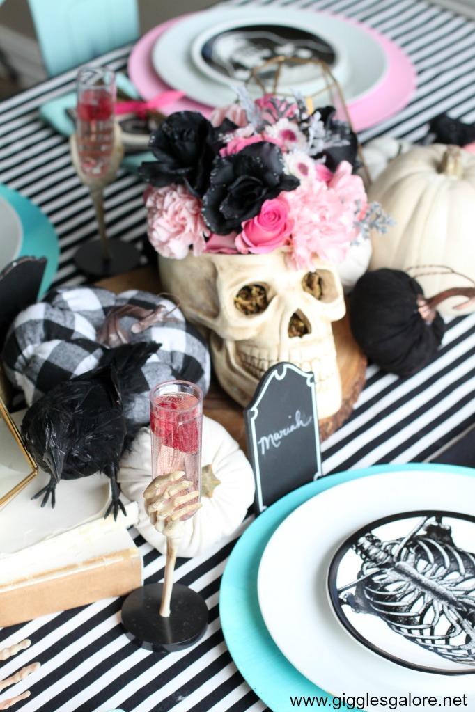 Pastel halloween skull centerpiece