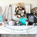 Pumpkins pinecones fall mantel decor