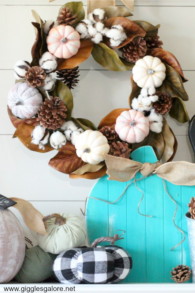 DIY Pumpkins and Pinecones Fall Wreath