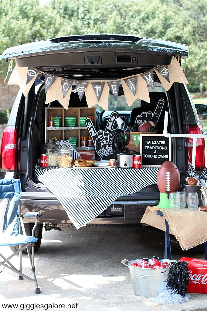 Tailgate party set up