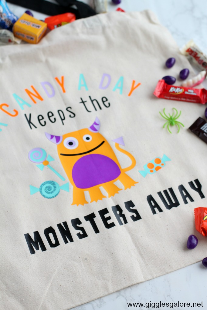 A candy a day keeps the monsters away tote