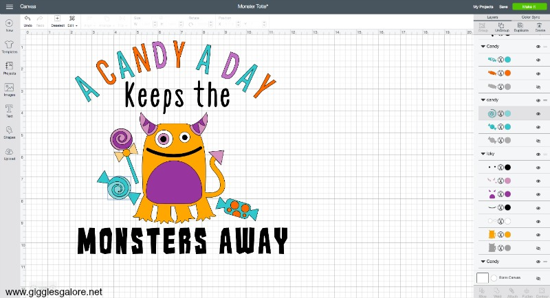 A candy a day keeps the monsters away cricut design file