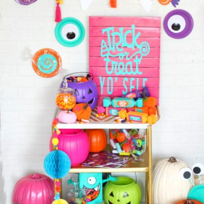 Colorful Trick or Treat Yo' Self Candy Cart