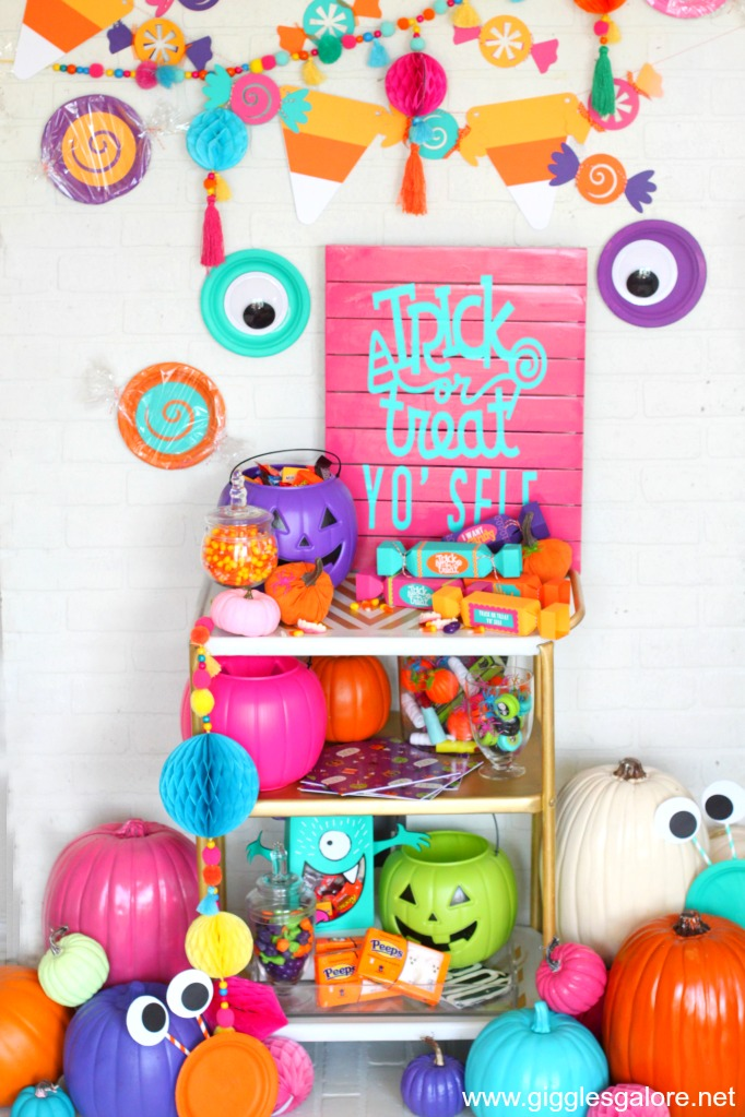 Colorful Trick or Treat Yo' Self Halloween Candy Cart