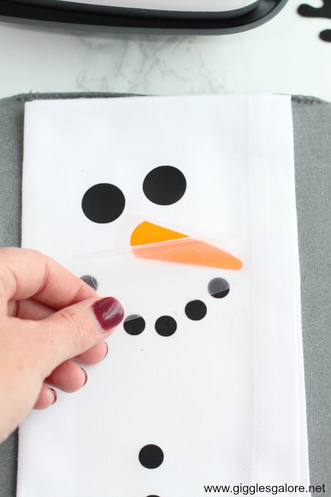 Diy snowman napkin heat transfer