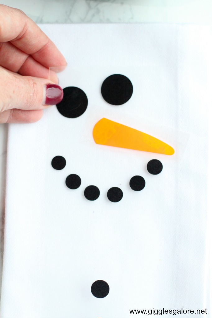 Diy snowman napkin iron on vinyl