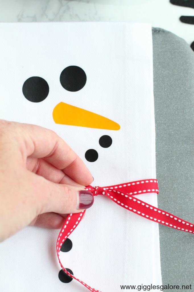 Diy snowman napkin ribbon scarf