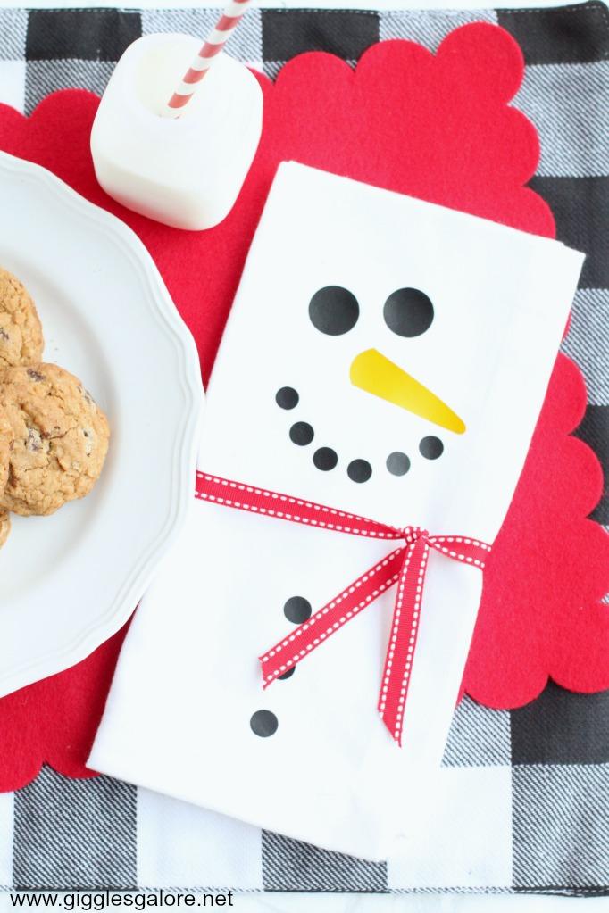 Diy snowman napkins