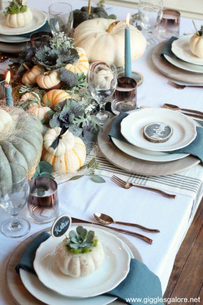 Fall farmhouse table setting and centerpiece