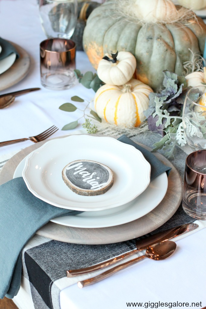 Fall wood slice placecard