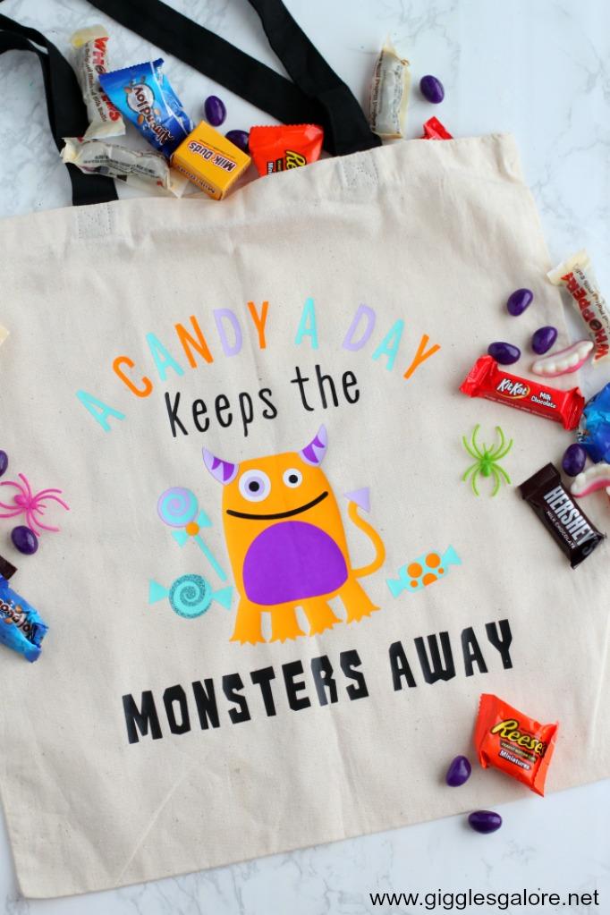 Monster halloween trick or treat bag