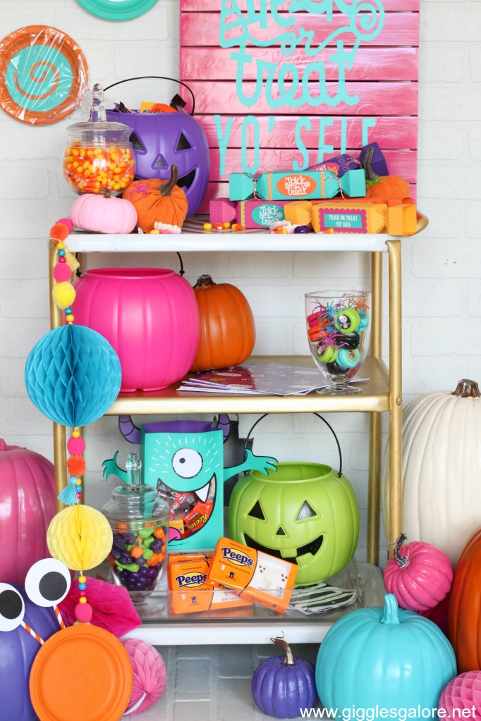Colorful Halloween Candy Cart