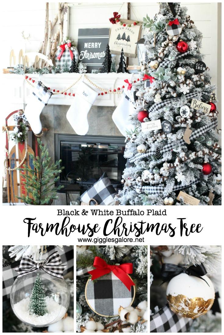 Black White Buffalo Plaid Farmhouse Christmas Tree