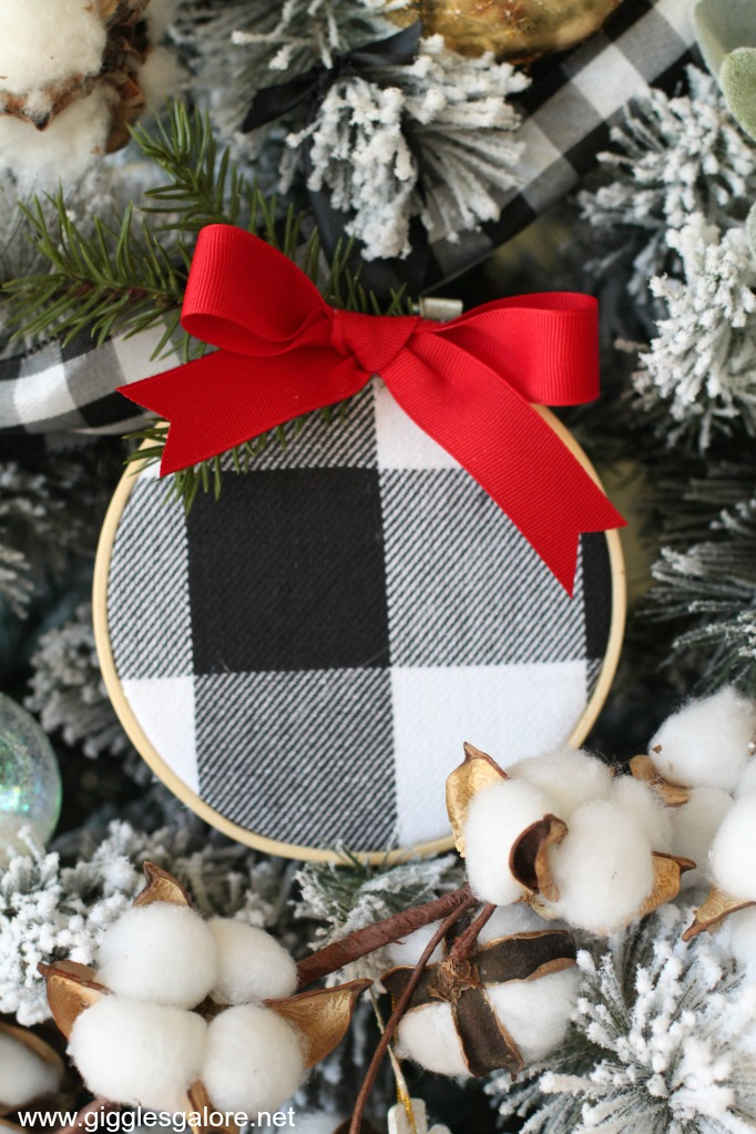 Black and white buffalo plaid embroidery hoop ornament