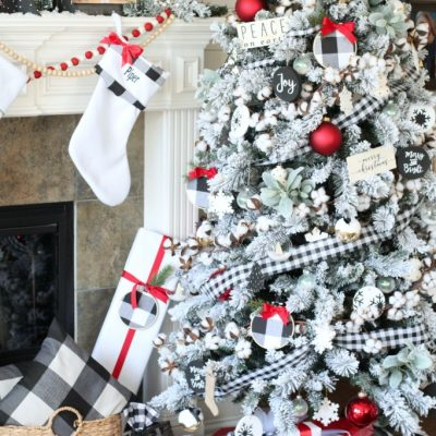 Black and White Buffalo Plaid Farmhouse Christmas Tree