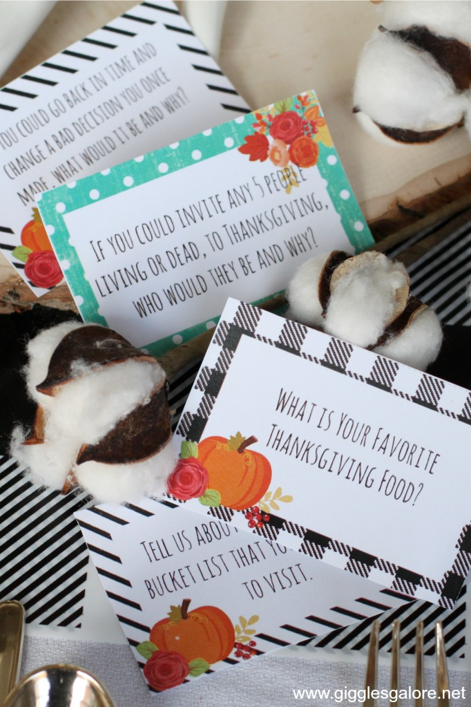 Free Buffalo Plaid Thanksgiving Conversation Cards