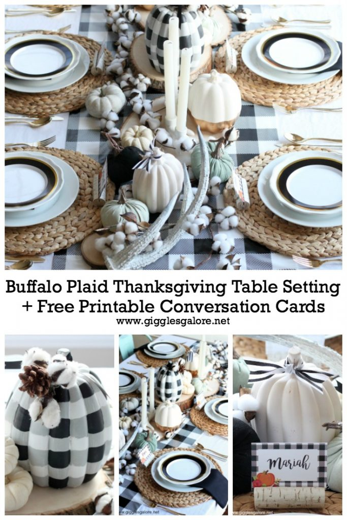 Buffalo Plaid Thanksgiving Table Setting + Free Printable Conversation Cards