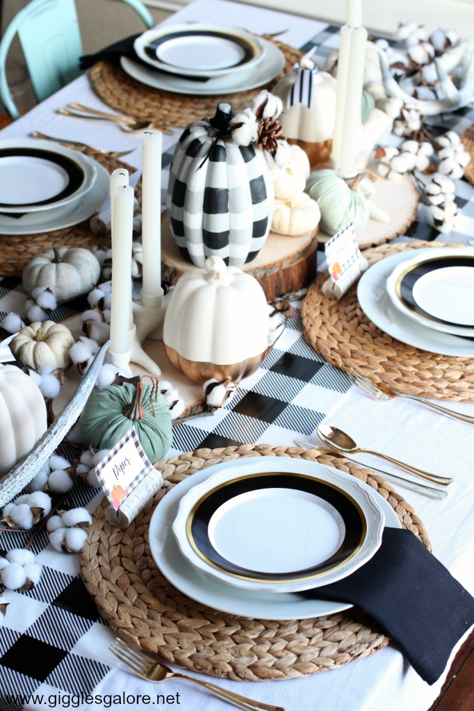 Buffalo Plaid Farmhouse Thanksgiving Table Setting