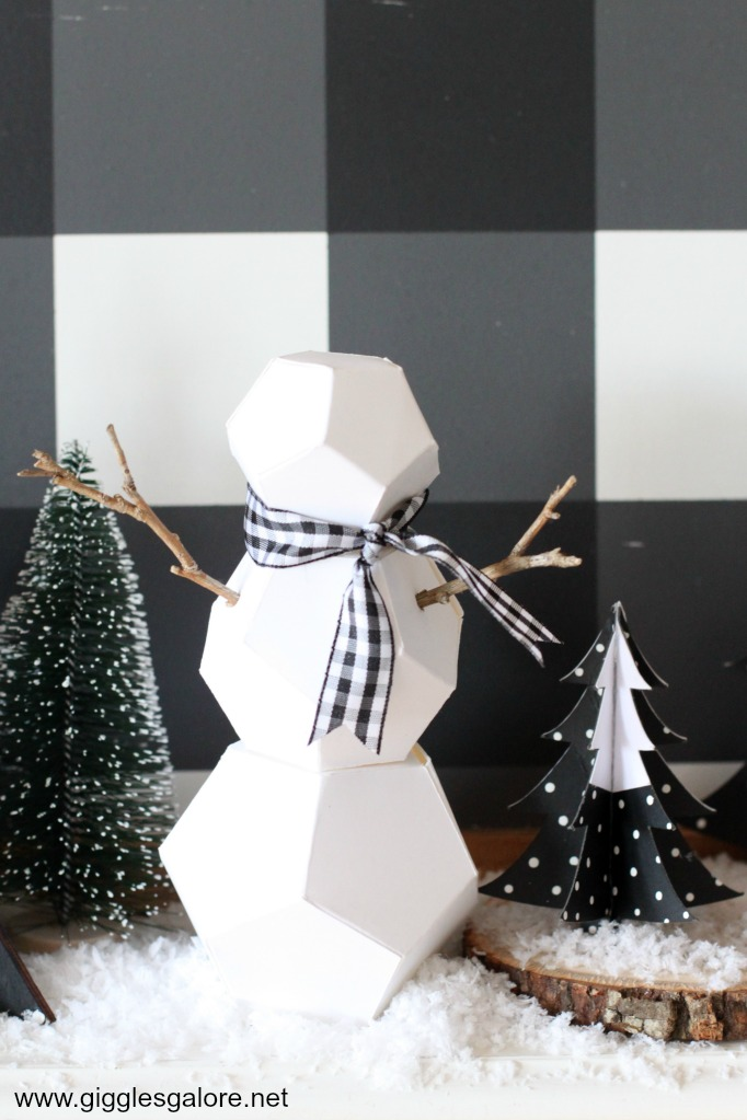 Geometric snowman holiday decor