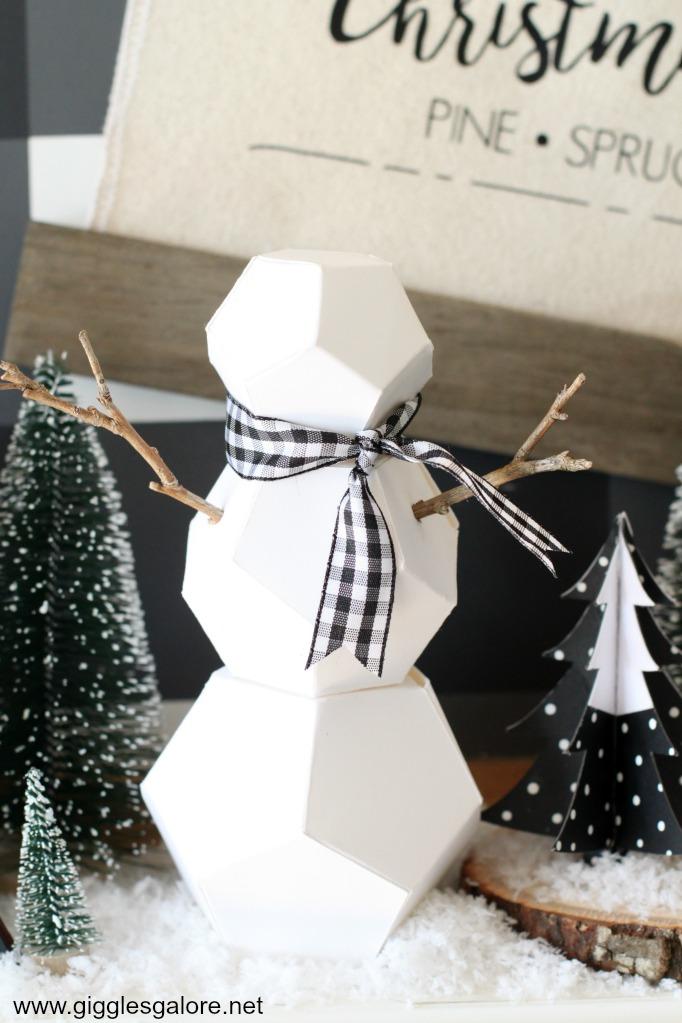 Modern geometric snowman