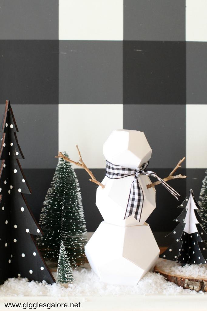 Paper geometric snowman