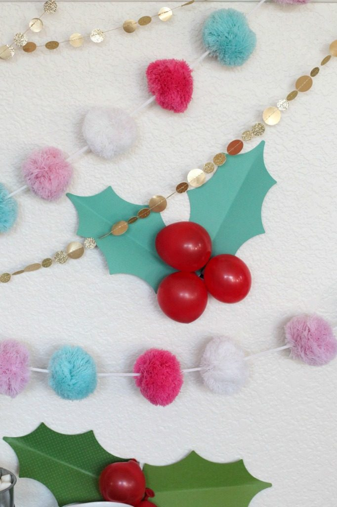 Holly berry balloon garland