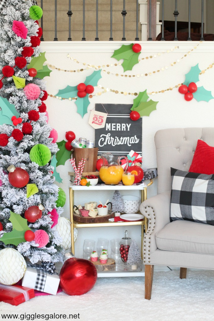 Holly jolly christmas party bar cart