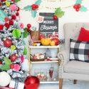Holly jolly holiday party bar cart