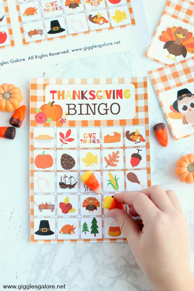 Thanksgiving bingo candy corn markers