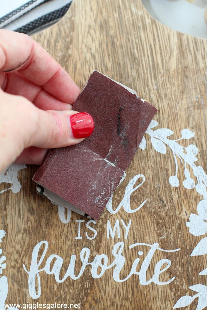Cookbook stand sandpaper