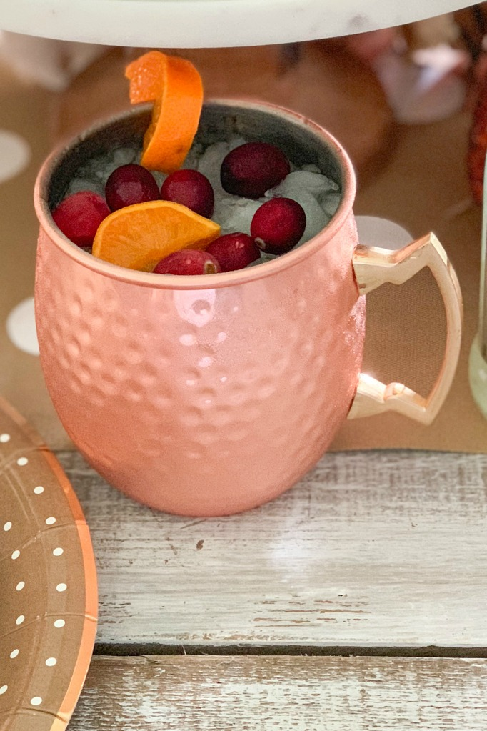 Cranberry moscow mule holiday drink