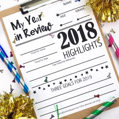 2018 Year in Review Free Printable for Kids