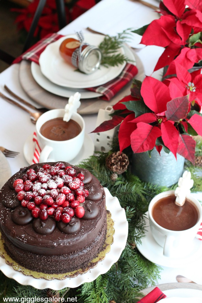 Holiday poinsettia and plaid brunch cake