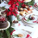 Poinsettas plaid holiday brunch table setting