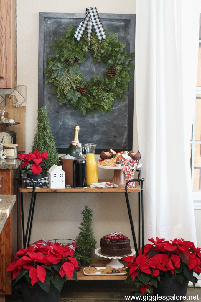 Poinsettias plaid mimosa bar