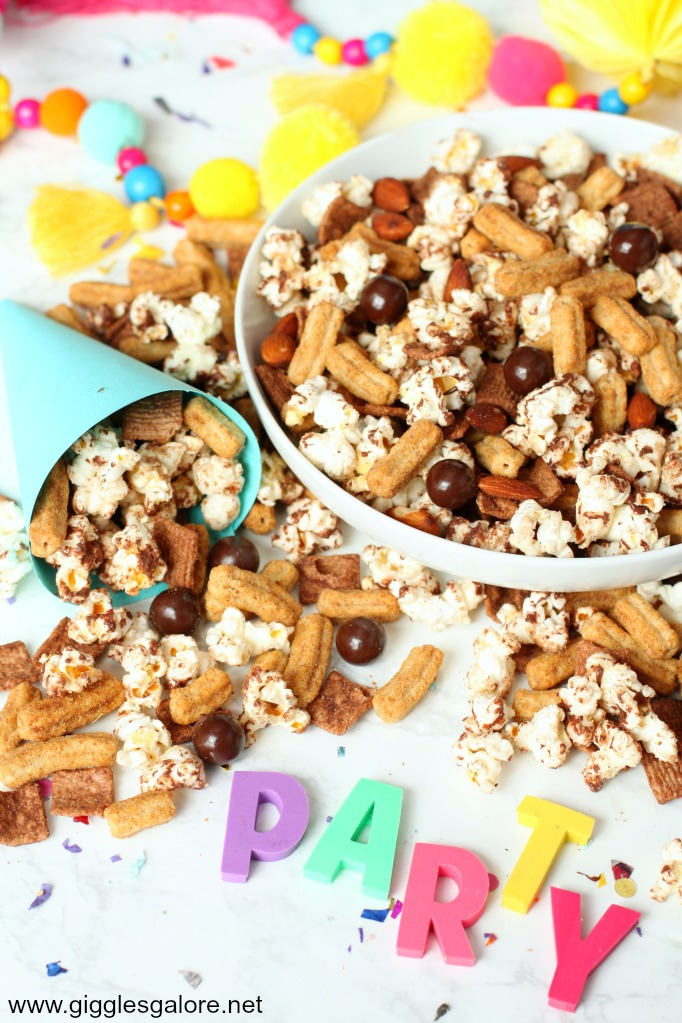 Chocolate churro popcorn snack mix