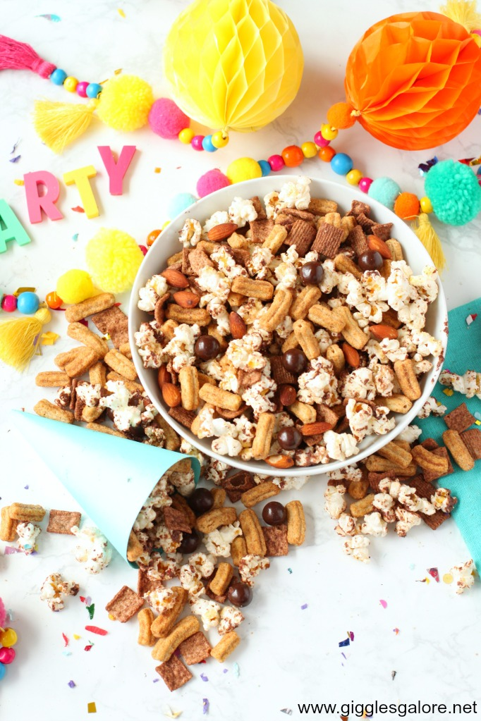 Churro chocolate popcorn snack mix